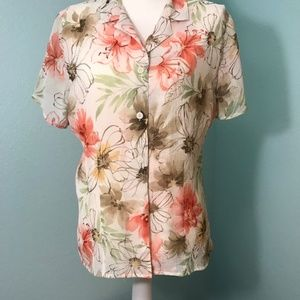 Alfred Dunner Crepe Blouse, Floral Print Size 18